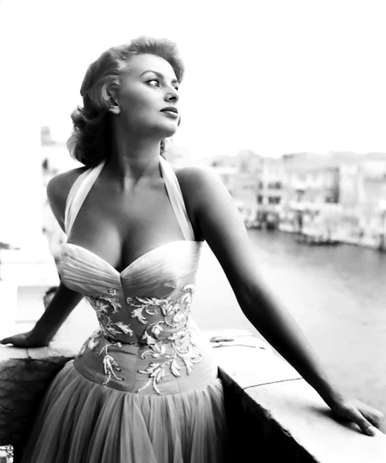 Sophia Loren in Venice, Italy, mid-1950s.