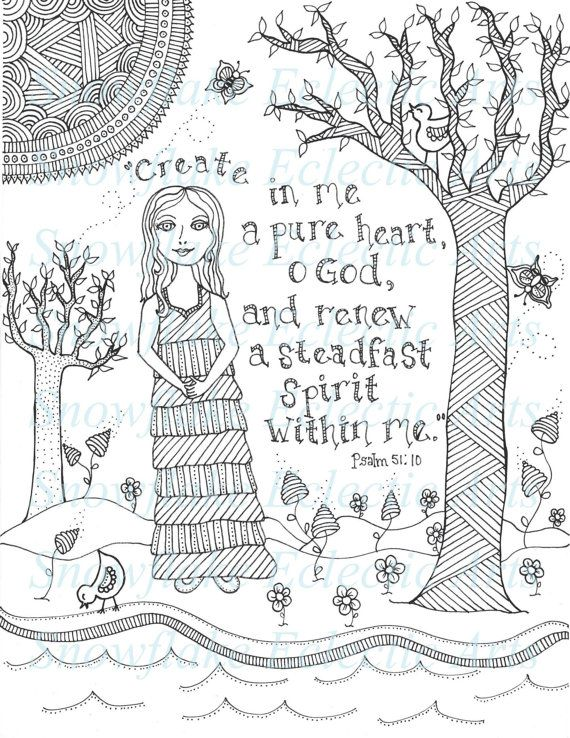 ** Pure Heart Coloring Page ** Offered here is a print of