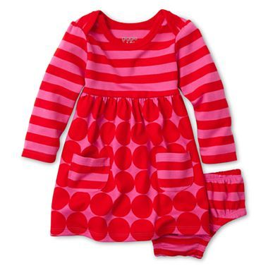 254b3629 Baby Girl Clothing · giggleBABY™ Striped Dot Dress - Girls newborn-24m -  jcpenney