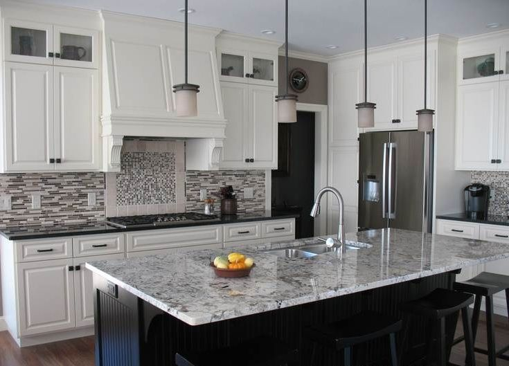 Best White Cabinets Black Island With Alaska White Granite 400 x 300