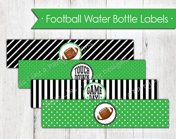 Football Water Bottle Labels Party Favor