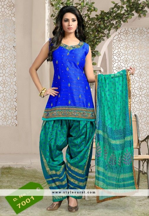 Sunshine Silk Fabric Blue Color Patiala Salwar Suit | Salwar Suit ...