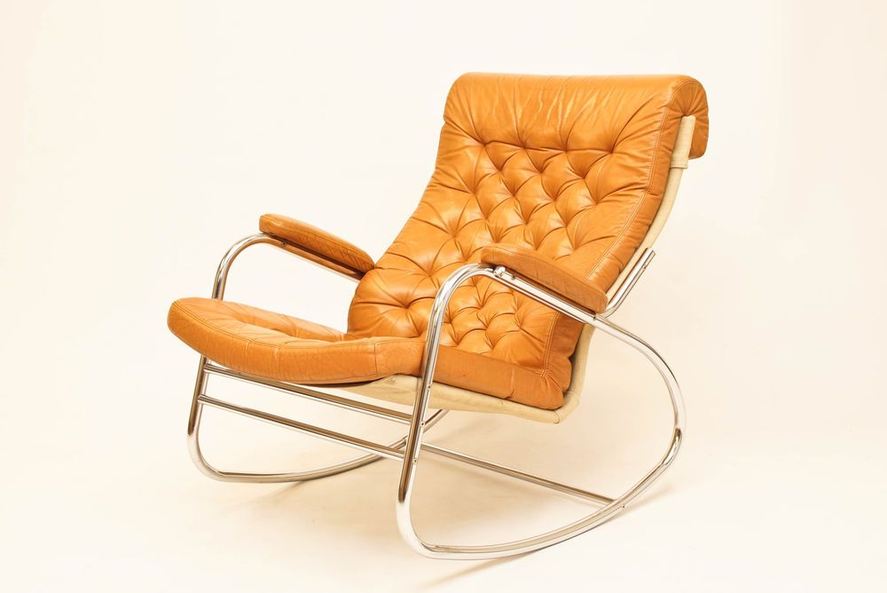 Danish Bruno Mathsson Chrome And Leather Rocking Chair Rocker Vintage & Chrome Rocking Chair Vintage | Expert Event