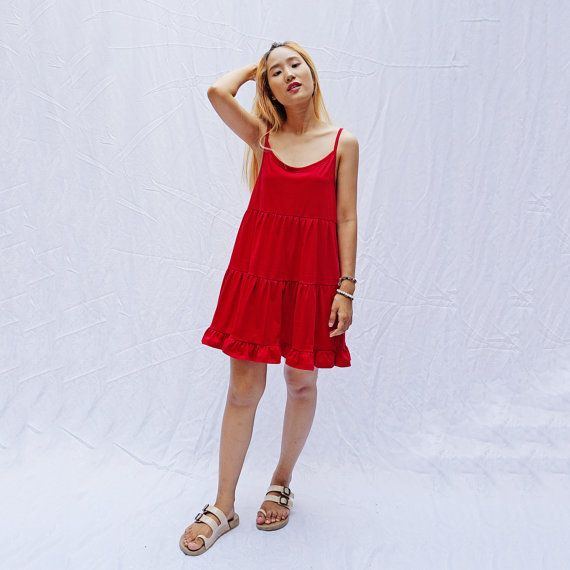 Strappy cotton jersey knit tiered smock dress cami by OONTOODstyle ... 7599e74ce