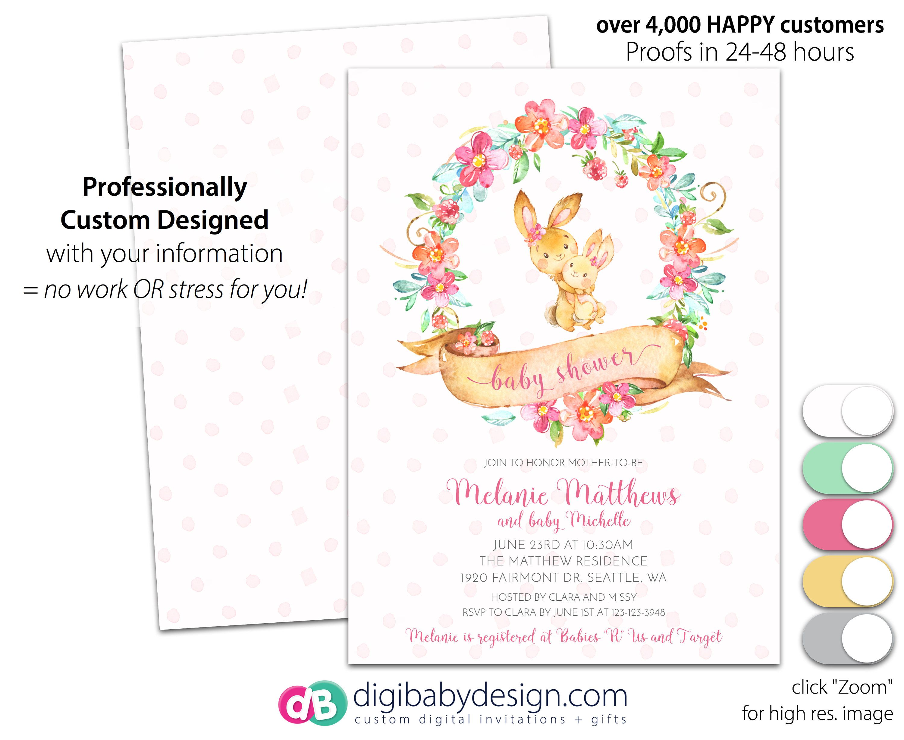 wreath shower best baby invitations bunny of awesome watercolor