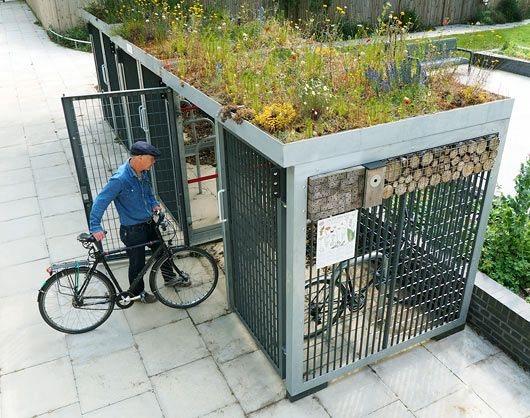 Metal Bicycle Shelters : Green roofed cycle shelter hotel betlem pinterest