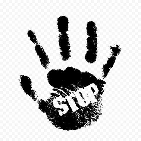 Hd Black Hand Print With Stop Word Png Black Hand Stop Words Print