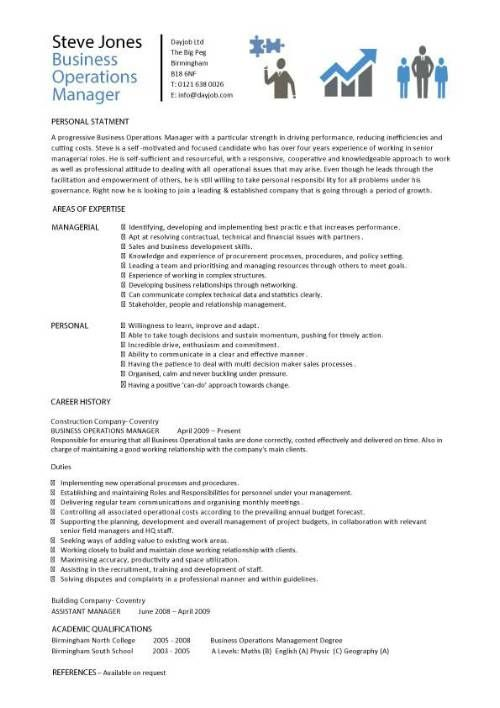 Business Operations Manager resume template purchase Future Goals