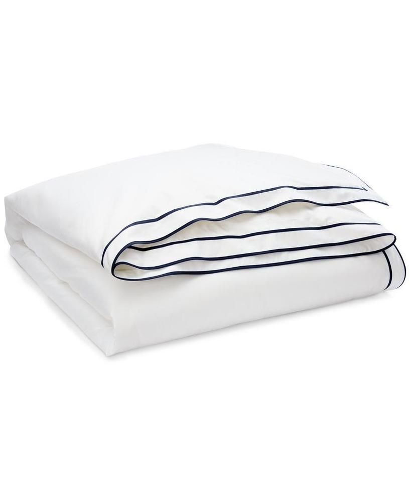 0f851bff Ralph Lauren Spencer Cotton Sateen Border NAVY & WHITE King Duvet ...