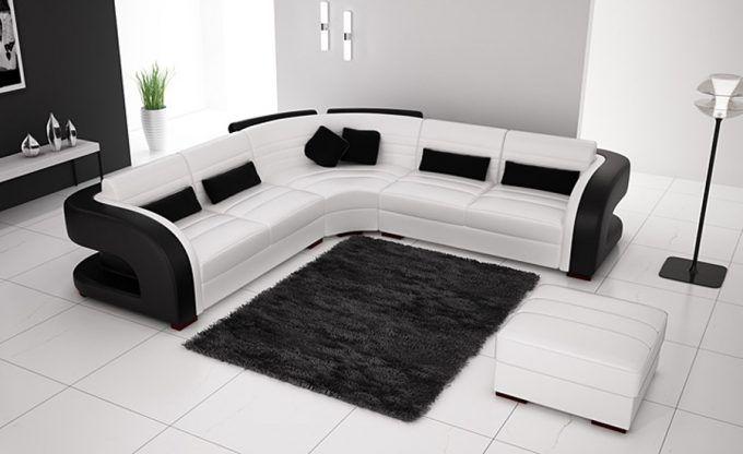 Marier Noir Et Blanc Dans Le Salon Voici 20 Idees Pour Vous Inspirer Corner Sofa Living Room Modern Sofa Designs White Sofa Set