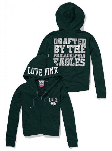 cheaper 68473 c4ba2 Philadelphia Eagles Bling Slouchy Zip Hoodie - Victoria's ...