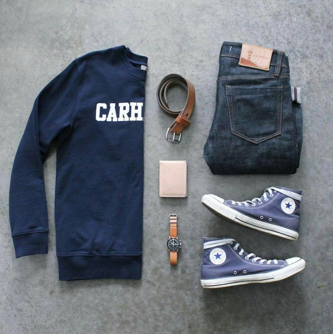 "Stylish Grid Game on Instagram: ""Casual Blue Grid by @awalker4715 � Follow � @stylishgridgame � � �www.StylishGridGame.com� � Brands �Sweater: @carharttwip �Jeans:…"""