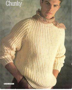 Mens fishermans rib sweater chunky knitting pattern Chunky knitting pattern...