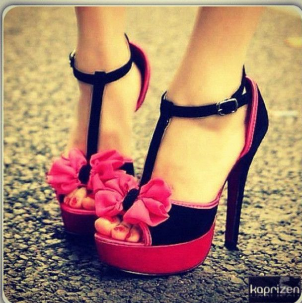 photos of shoes with bows | shoes high heels pink black t-strap ...