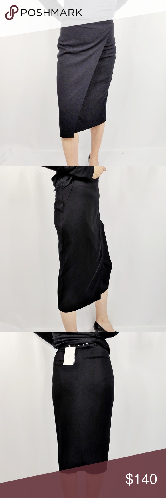 a257b59b2 NWT A.L.C. Daniels crepe midi wrap skirt black A.L.C. black crepe Daniels  pencil skirt styled with a partial belt. Belt loops at back, silvertone  hardware ...