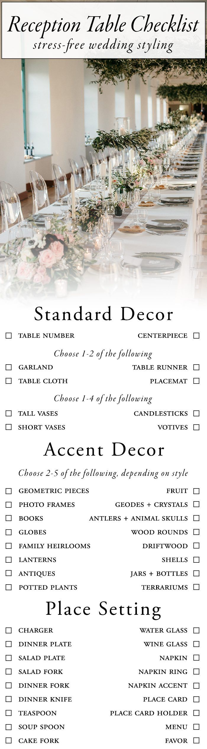 Use This Wedding Reception Table Checklist For Stress Free Styling Junebug Weddings Wedding Reception Checklist Wedding Planning Tools Wedding Reception Tables