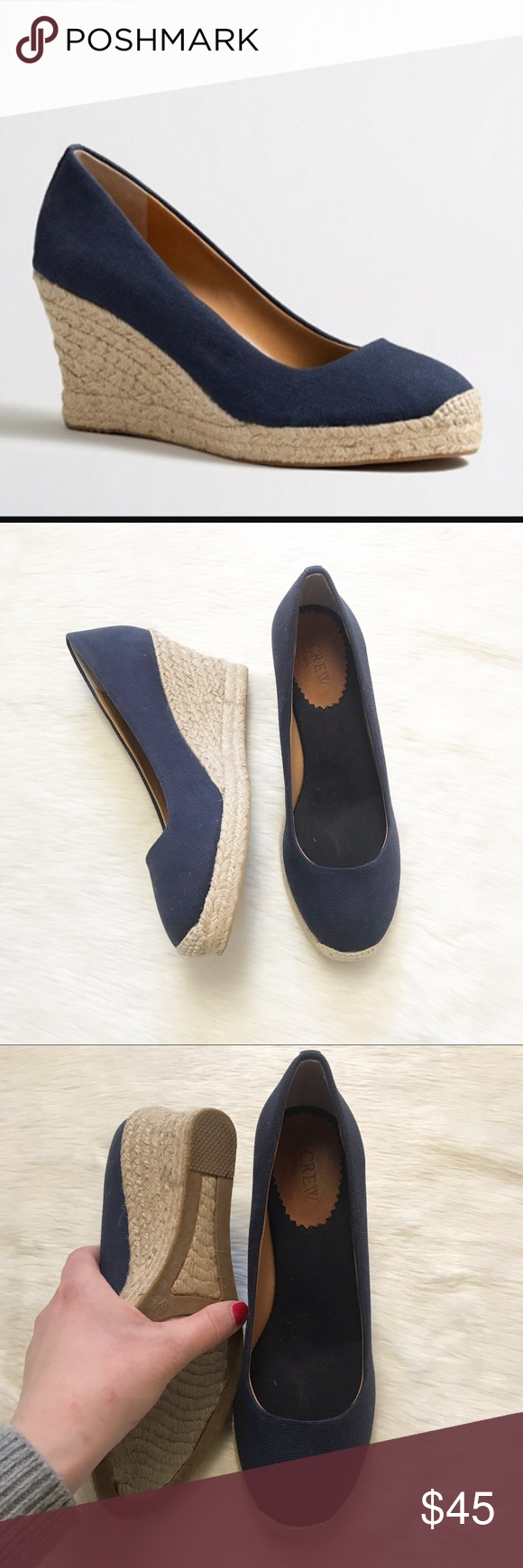f4650876501 J Crew Seville Canvas Navy Espadrille Wedge Slipon Navy canvas slip on Espadrille  Wedges from J. Crew Factory in a size 8.5. These shoes are in very good ...