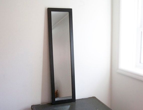 Large wall mirror, black wood frame, black frame, semi full length ...