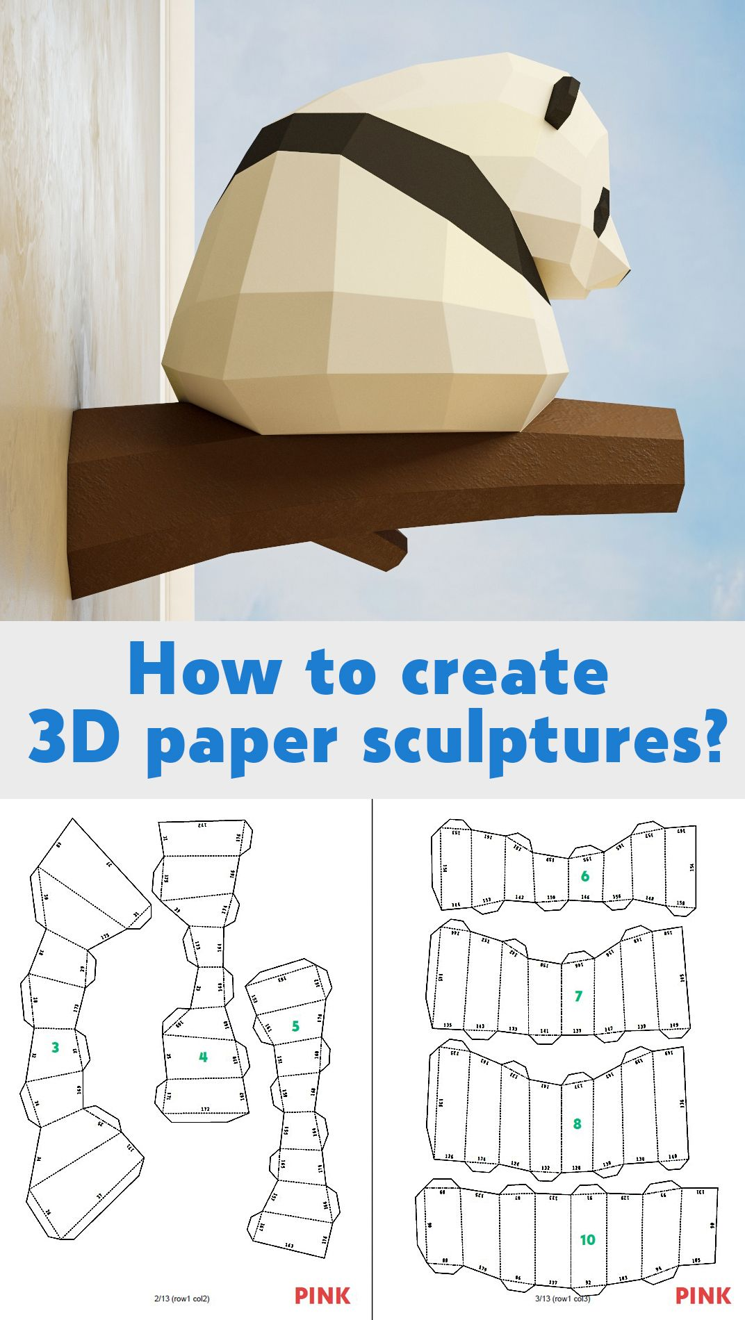 Papercraft Little Panda, DIY Paper craft, 3D template PDF kit, make your own low poly baby panda, origami pepakura, home decor idea, statue #babypandas