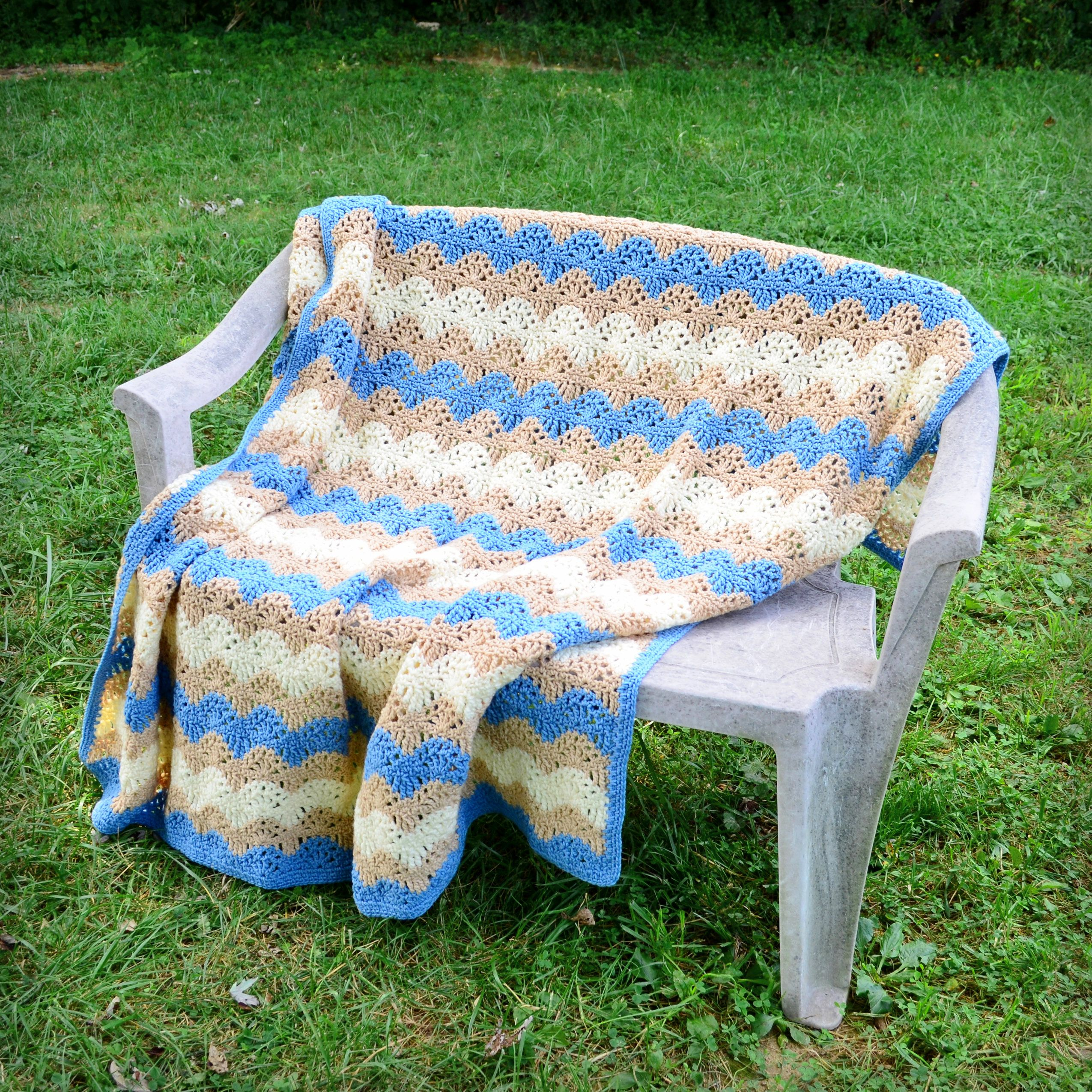 Knitted wedding decorations  Crochet ripple afghan ocean waves blue tan and cream handmade