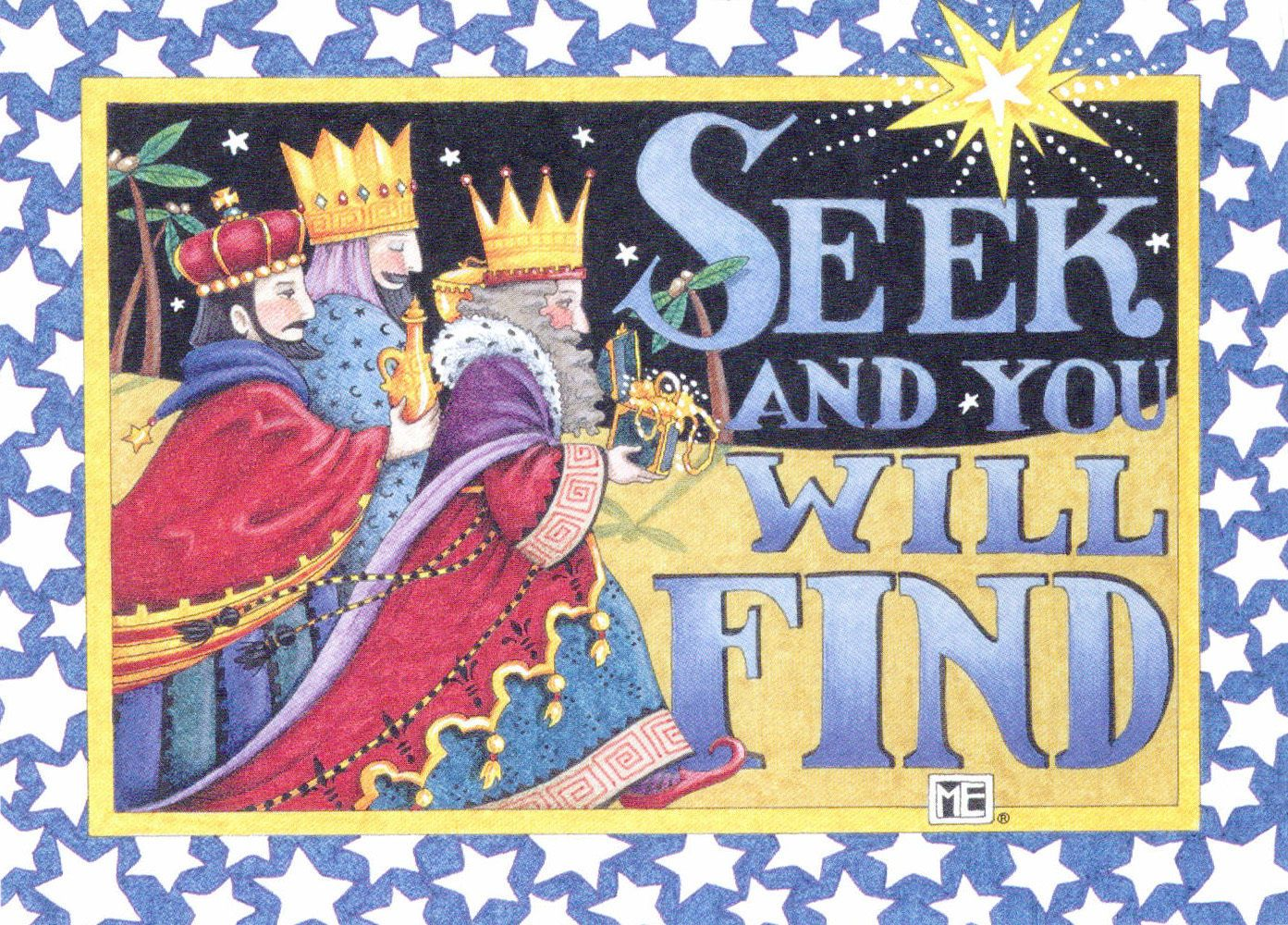 Mary Engelbreit-SEEK AND YOU WILL FIND Wise Men Star-Christmas Card ...