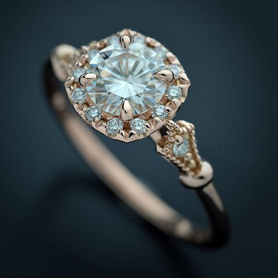 Halo Engagement Ring In Rose Gold With Moissanite Classic