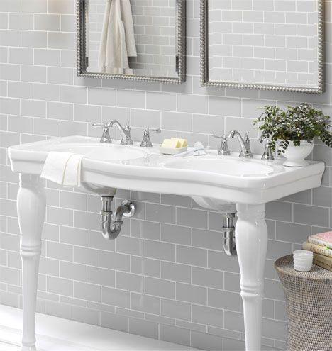 Good Victorian+Pedestal+Double+Sink+Console++Porcelain