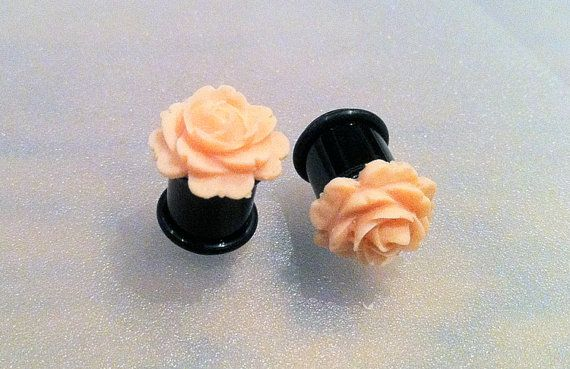 00G Blooming Rose Flower Plugs  Vintage look by PerfectionPetals, $19.00