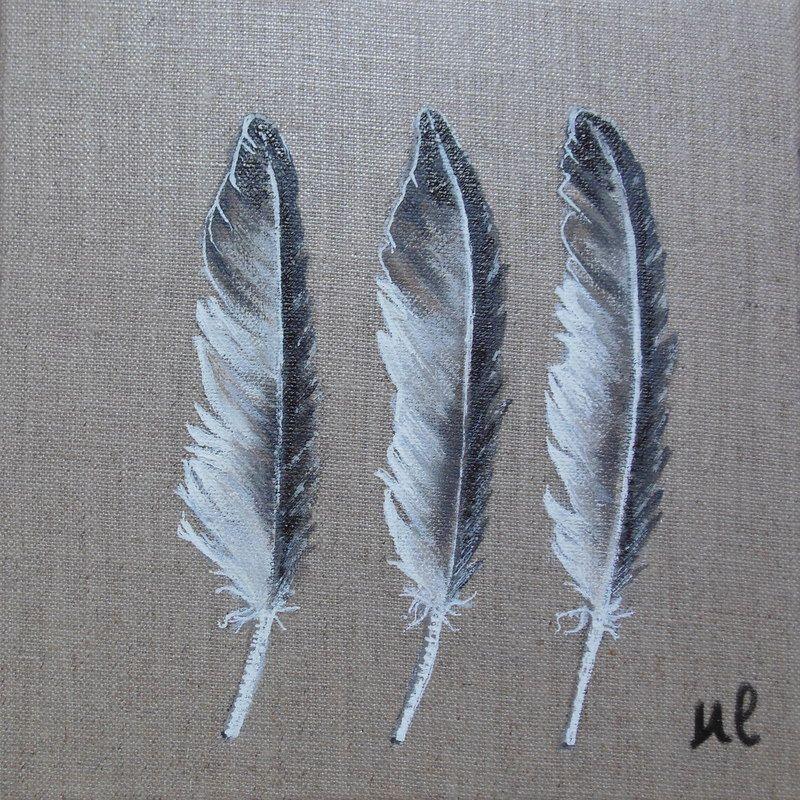 3 plumes, sur toile de lin. sur commande. tarifs et infos : etsy