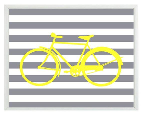 Bicycle Bike Wall Art Print - Yellow Gray Stripes - Modern Nursery Children Room Home Decor #graystripedwalls