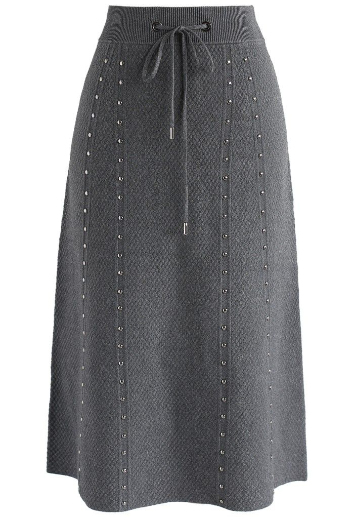 ef0ed812ca38 Gallant Embossed Knitted A-lined Skirt in Grey - New Arrivals - Retro