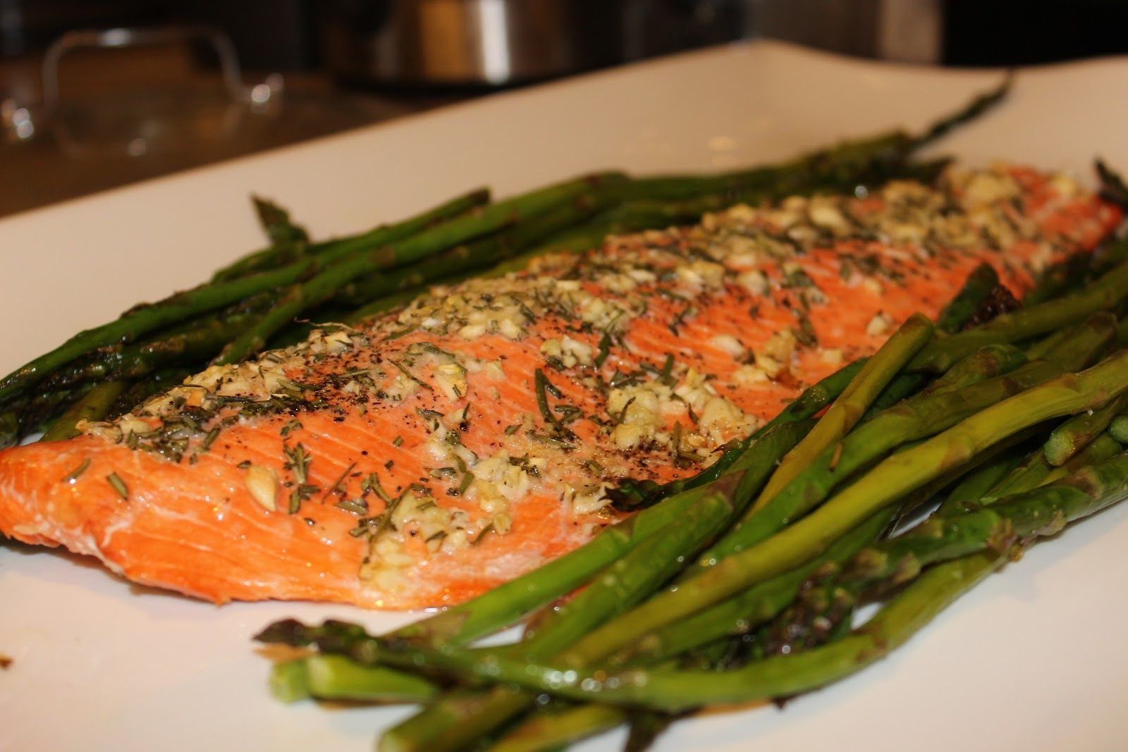 Garlic and Rosemary Roasted Salmon and Asparagus   Tails of a Wife