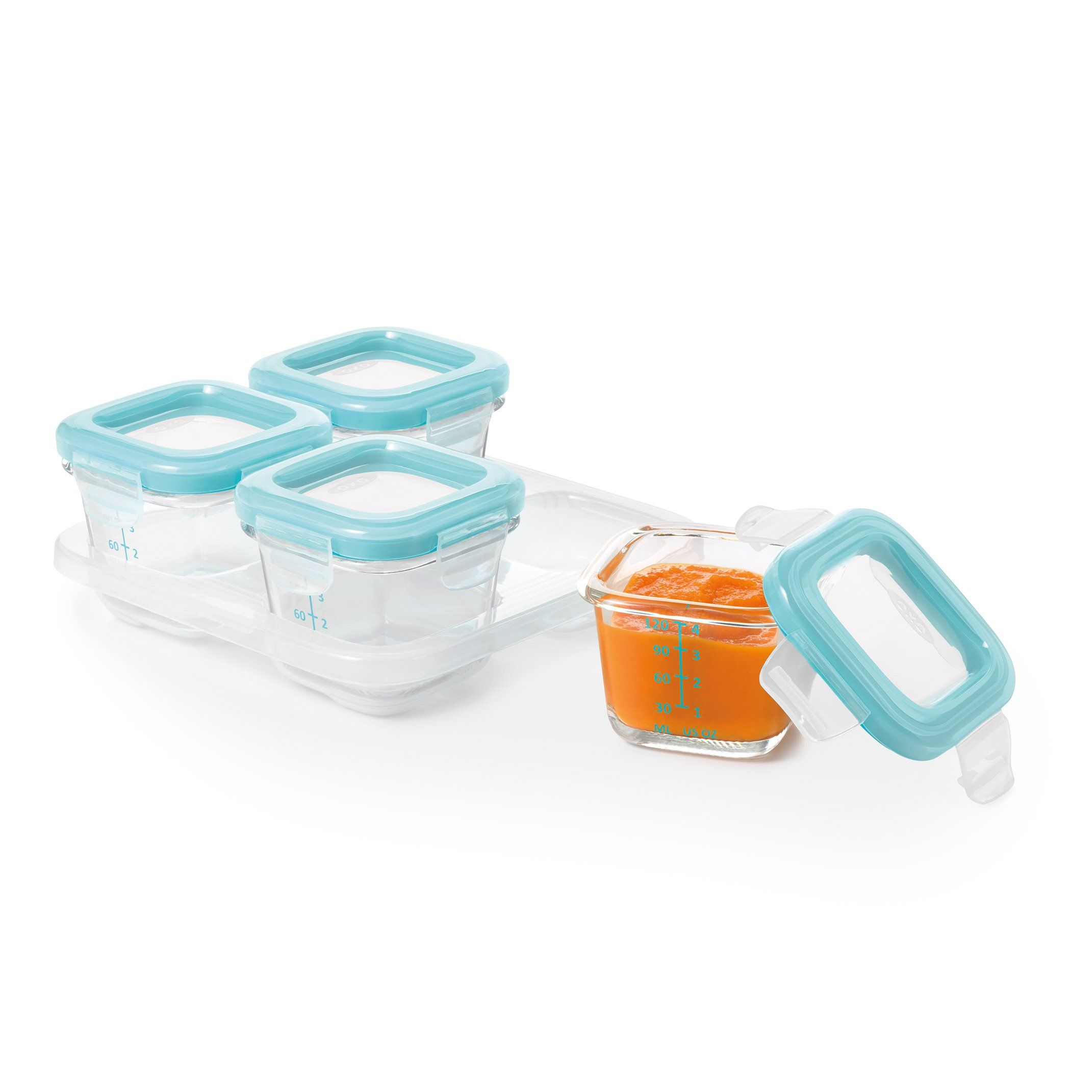 OXO Tot Glass Baby Blocks Freezer Storage Containers 4 Oz Aqua *** Details  Can