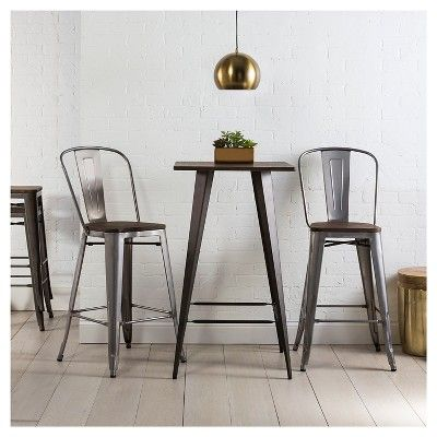 Set Of 2 29 Hampden Industrial Wood Top Barstool Natural Metal Threshold Metal Pub Table Pub Table Sets Home Bar Furniture