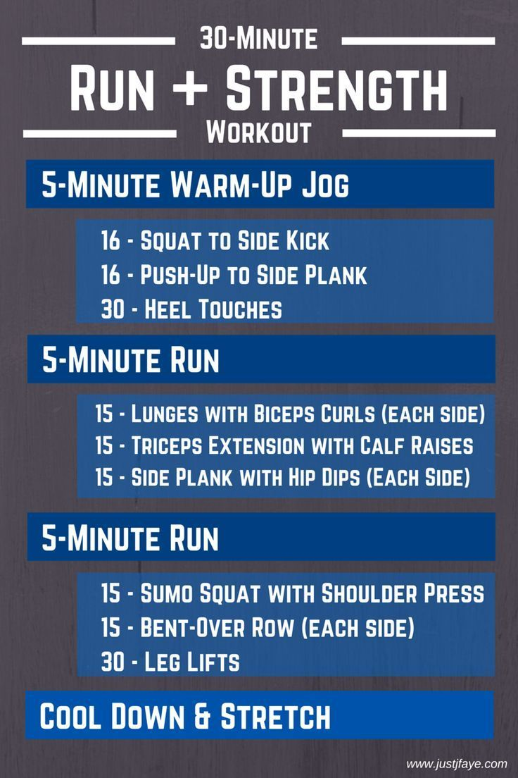 This 30-minute run and strength workout consists of 3 treadmill runs and 3 strength training circuit...