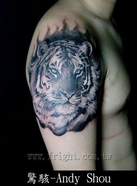 Tiger Flower Tattoo Shoulder Upper Arm Tiger Tattoo Sleeve Mens Shoulder Tattoo Tiger Tattoo