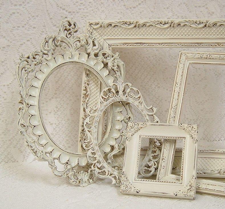 Picture Frames Shabby Chic Picture Frame Set Ornate Frames Ivory ...
