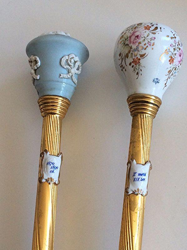 Decorative Walking Canes 2 Vintage Tiche Italian Porcelain Walking Sticks Canes  Walking