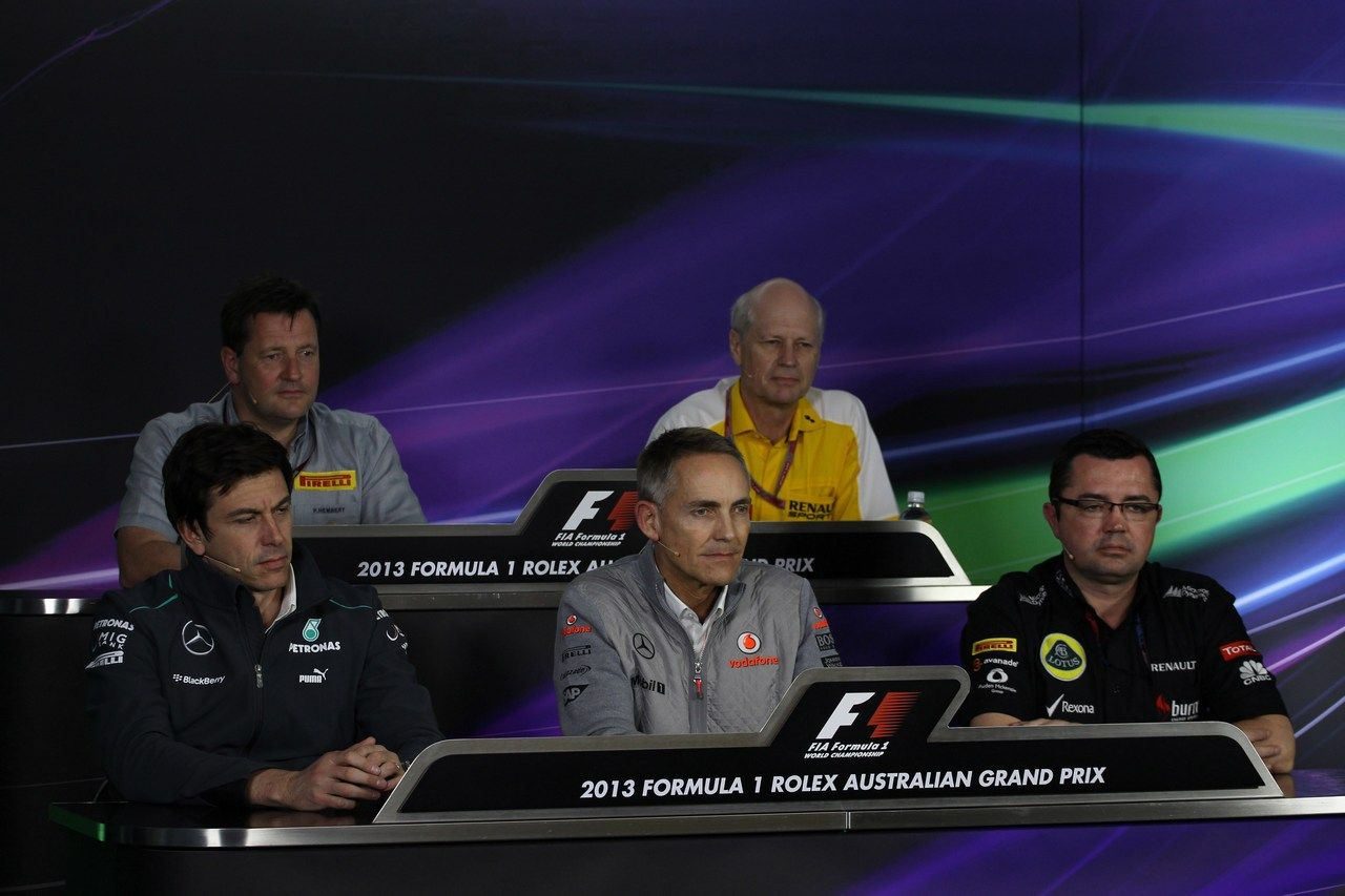 Round 1, Rolex Australian Grand Prix 2013, FiA Friday Press Conference, Paul Hembery (TL), Motorsport Director, Pirelli, Jean-Michel Jalinier (TR) F1 President, Renault Sport, Toto Wolff (BL), Executive Director, Mercedes AMG Petronas F1 Team, Martin Whitmarsh (BC), Team Principle, Vodafone McLaren Mercedes, Eric Boullier (BR), Team Principle, Lotus Renault F1 Team