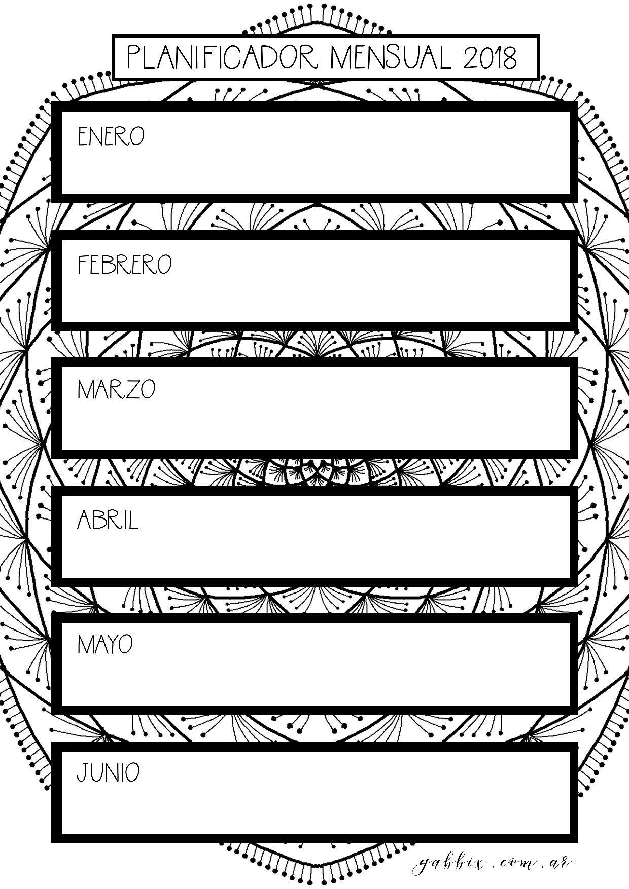Planificador mensual agenda 2018 con mandalas para colorear y jornal ...