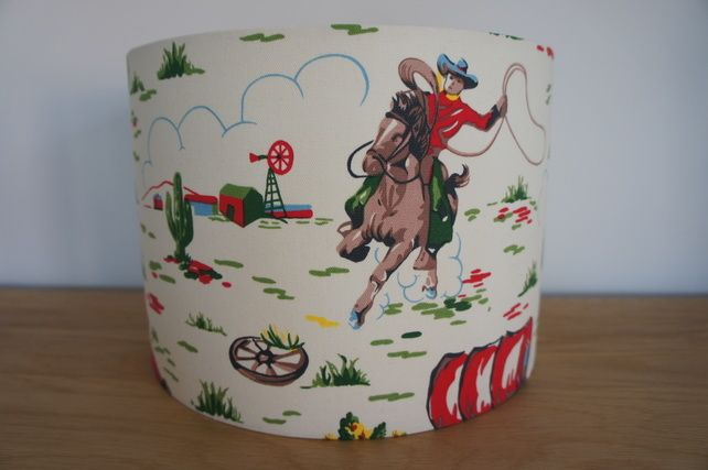 Handmade 30cm drum lampshade in cath kidstons cowboy fabric handmade 30cm drum lampshade in cath kidstons cowboy fabric 2600 mozeypictures Gallery