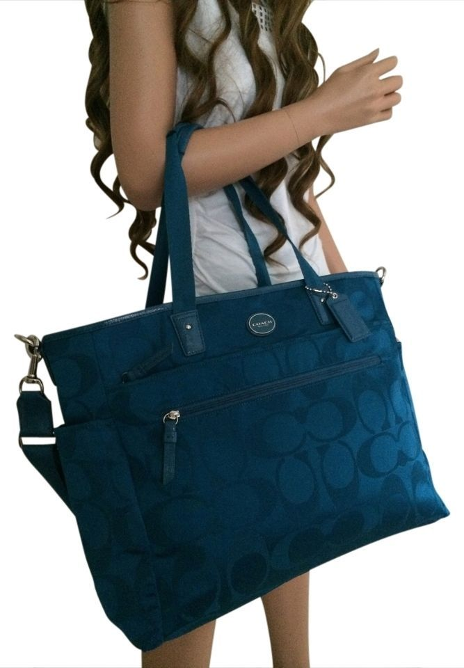 NEW NWT COACH BABY BAG BLUE PLUME NYLON DIAPER PAD TRAVEL SIZE NWT $228 FREESHIP #Coach