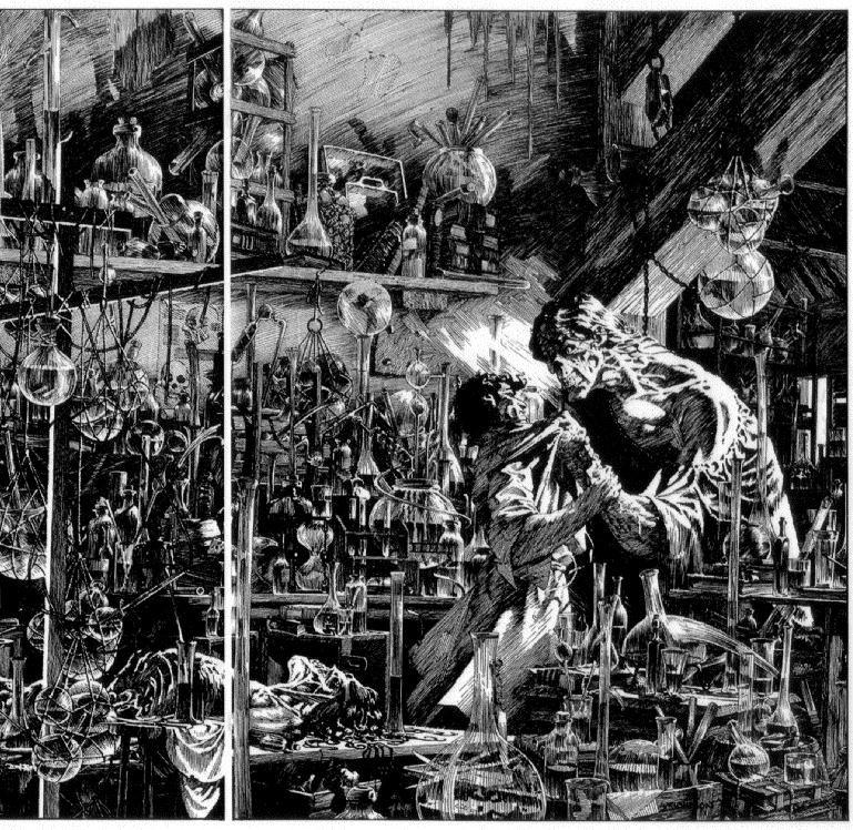 Berni Wrightson's   Frankenstein. An amazing amount of detail. Nobody draws horror better than Berni Wrightson.