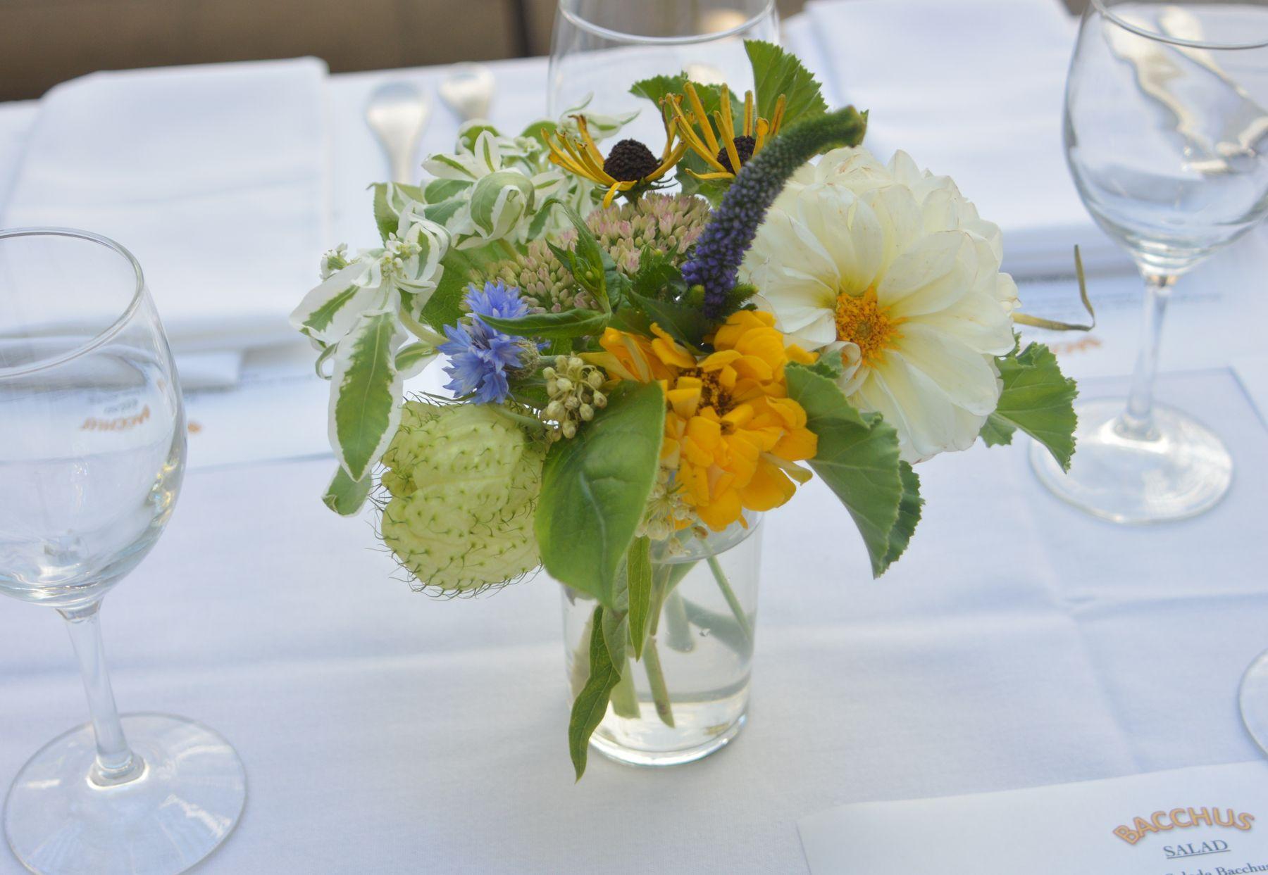 Spring Flower Arrangement Dahlia with wild flower and seasonal greens Brooklyn Wedding