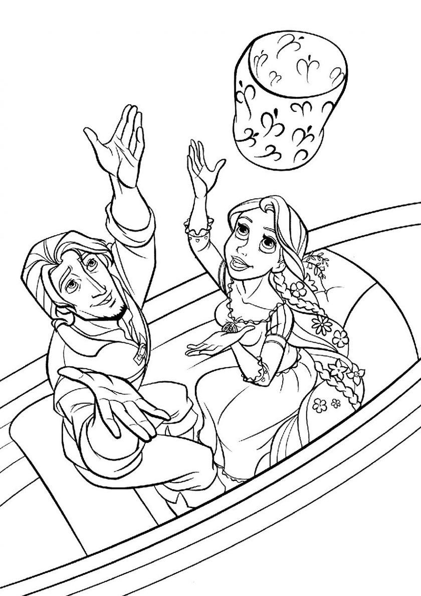 Юджин и принцесса с фонариком | Раскраски дисней, Рисунки ...