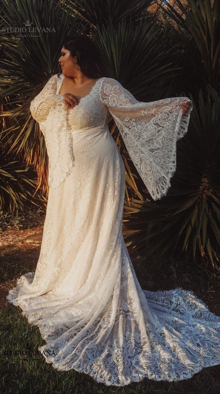 Bohemian Romantic Blush Plus Size Wedding Dress With Gorgeous Bell Sleeves Long Train A Plus Wedding Dresses Plus Size Wedding Gowns Bell Sleeve Wedding Dress [ 1368 x 765 Pixel ]