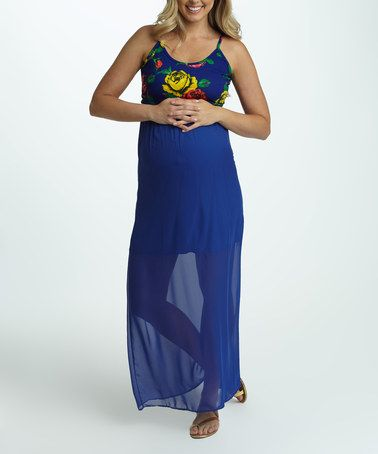PinkBlush Royal Blue Floral Chiffon Maternity Maxi Dress - Women #zulily #zulilyfinds