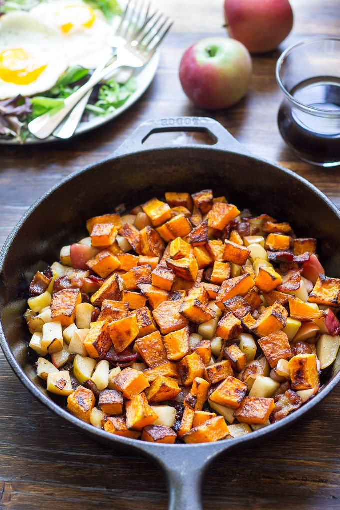 Roasted Butternut Squash Hash with Apples & Bacon (Paleo