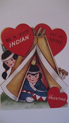 Vintage Valentine Card Native American Indian Teepee Squaw A Good Indian Unused