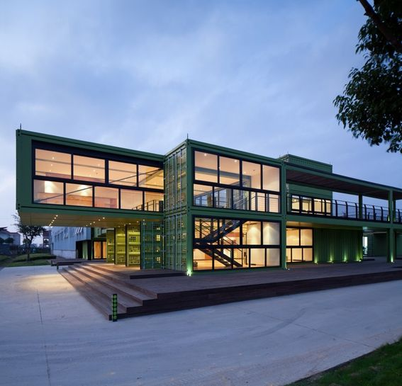 Whether or not one believes that shipping container architecture makes any sense, particularly when architects cut them up so that there is almost nothing left of them, they certainly can build dramatic structures. This showroom and lobby by Playz Architects near Shanghai is a good example.